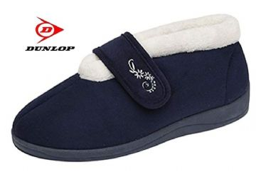 Dunlop DELORIS  Touch & Close Warm Lined  slippers NAVY